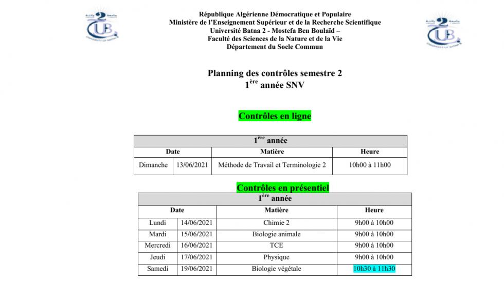 Planning des contrôles semestre 2 1ère année SNV